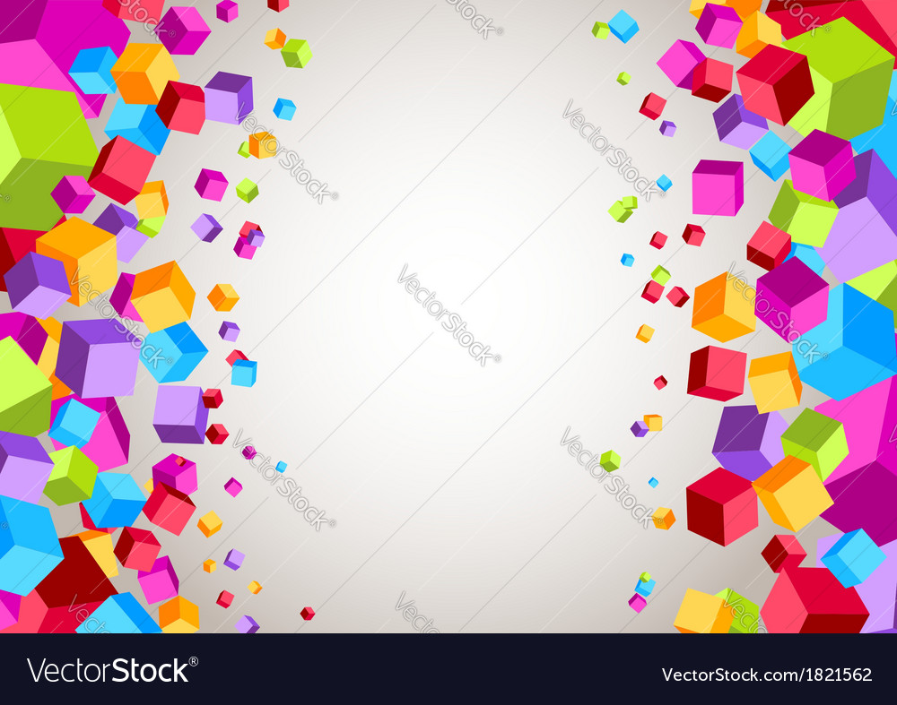 Colorful cubes on the sides - geometrical vector | Price: 1 Credit (USD $1)