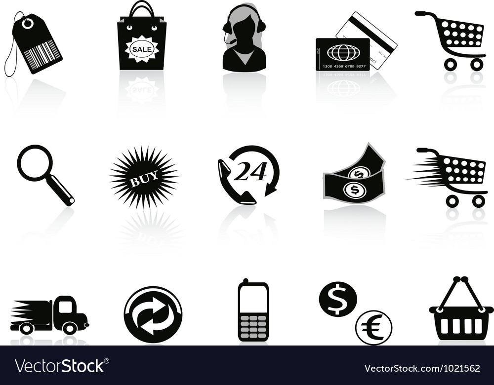 Commerce and retail icons set vector | Price: 1 Credit (USD $1)