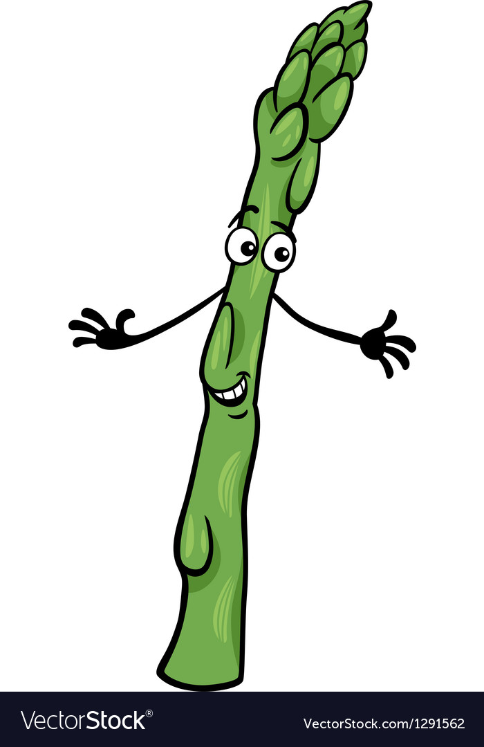 Cute asparagus vegetable cartoon vector | Price: 1 Credit (USD $1)