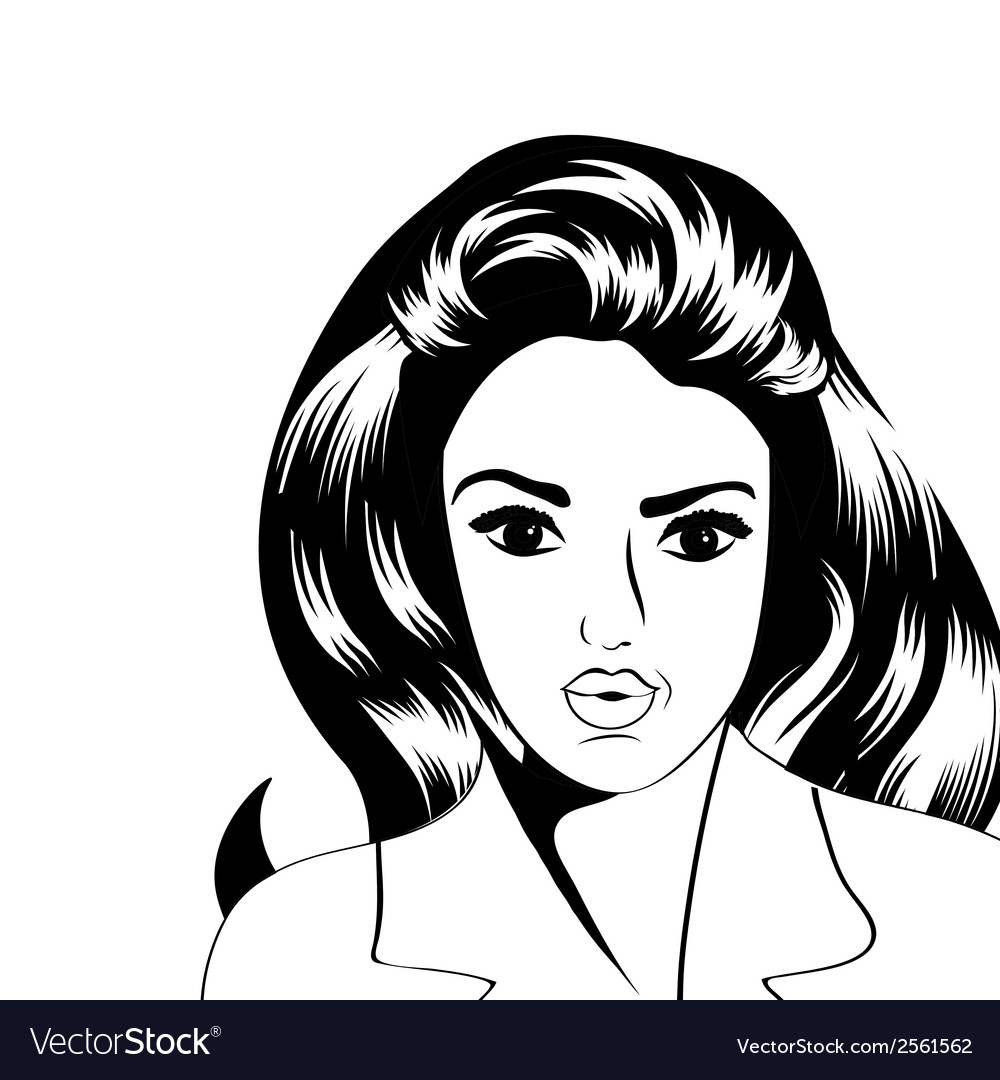 Cute retro woman in comics style vector | Price: 1 Credit (USD $1)