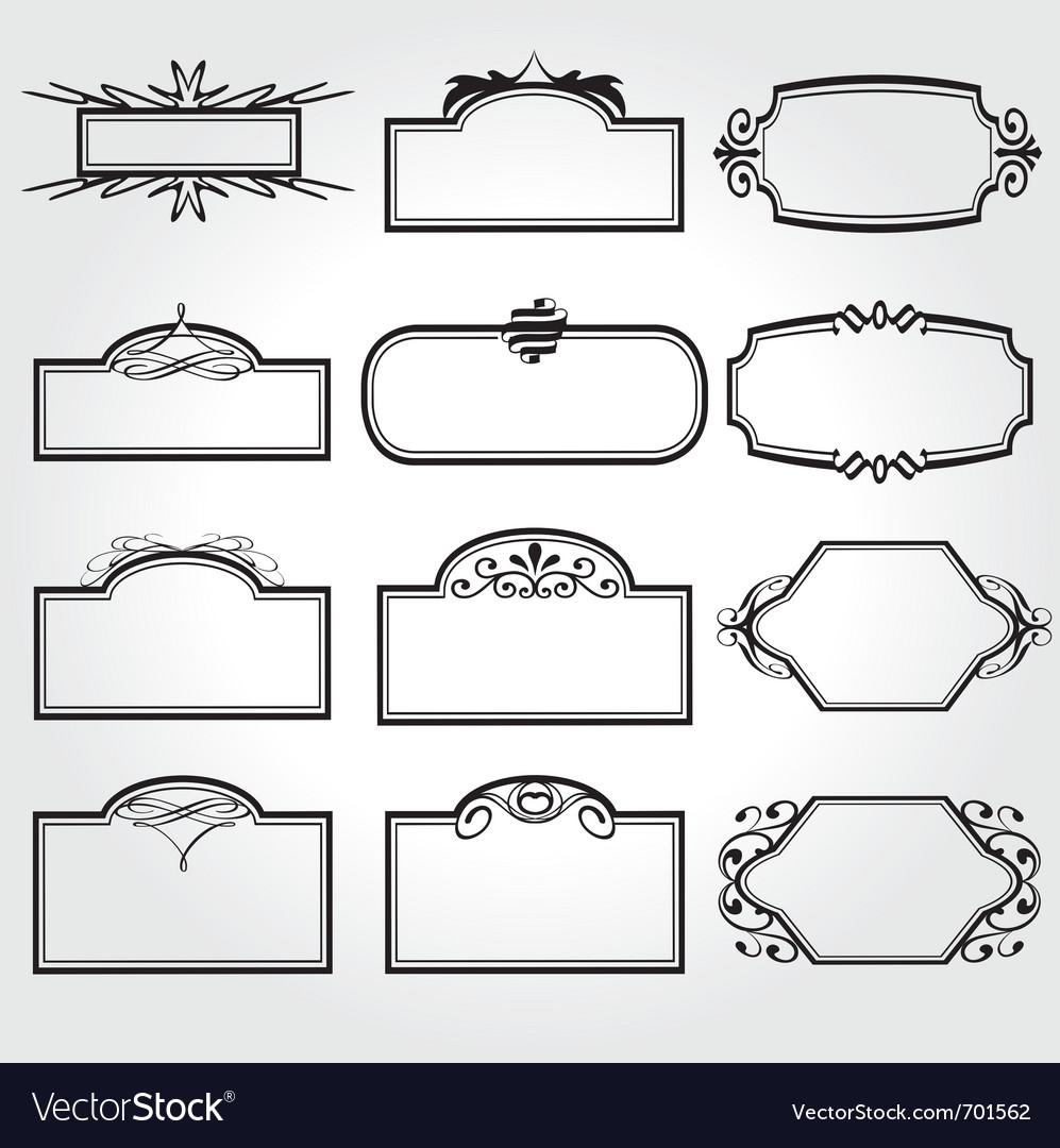Frame set ornamental vintage decoration vector | Price: 1 Credit (USD $1)