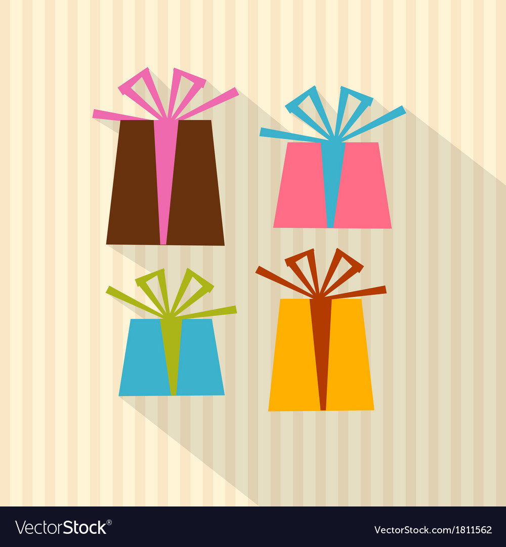 Retro present boxes gift boxes on cardboard paper vector | Price: 1 Credit (USD $1)