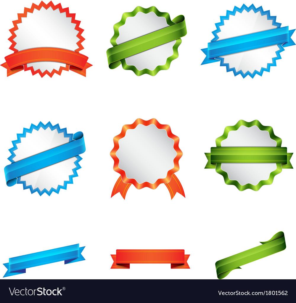 Set of badge and ribbon vector | Price: 1 Credit (USD $1)
