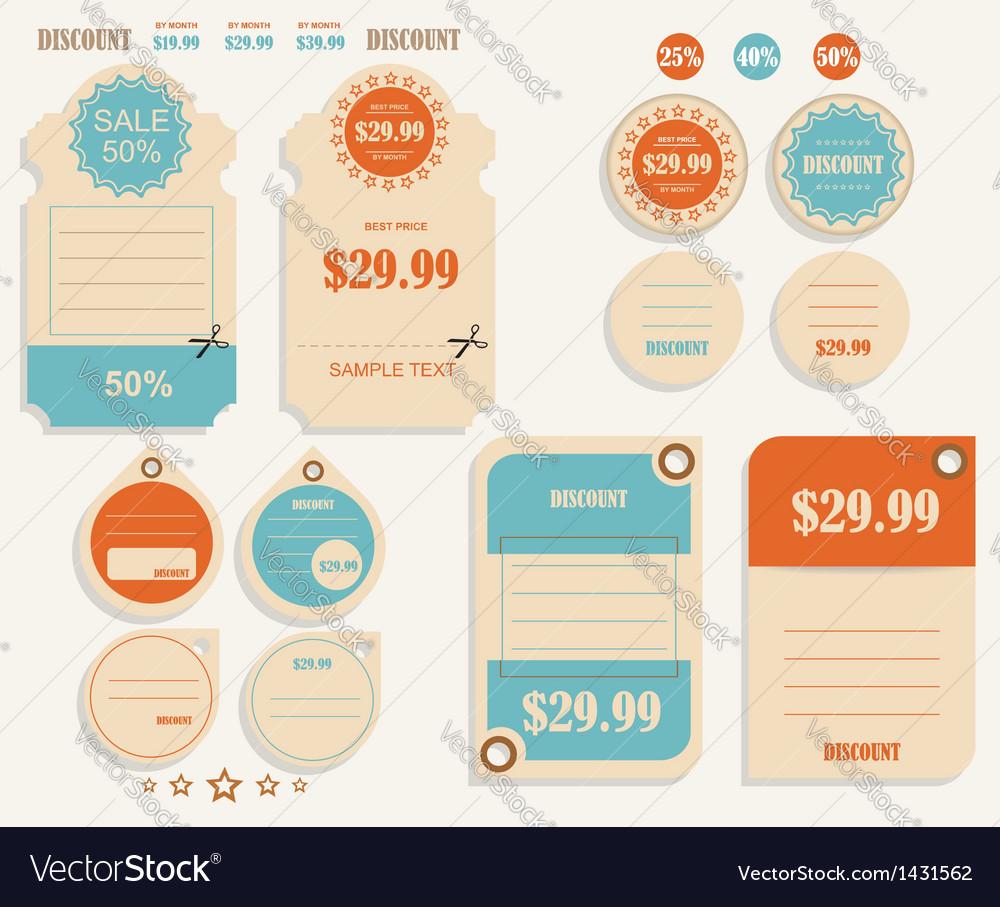 Vintage discounts template set vector | Price: 1 Credit (USD $1)