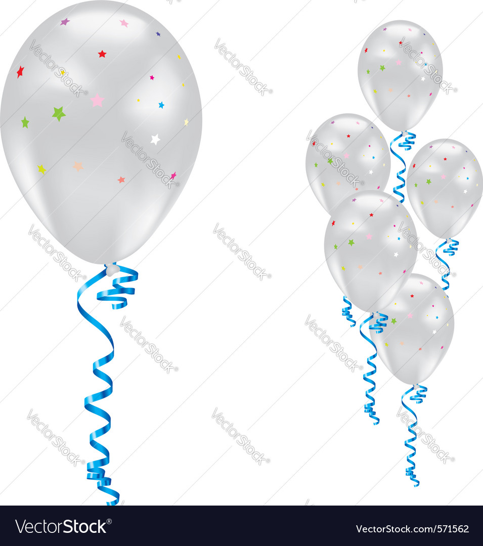 White party balloons vector | Price: 1 Credit (USD $1)