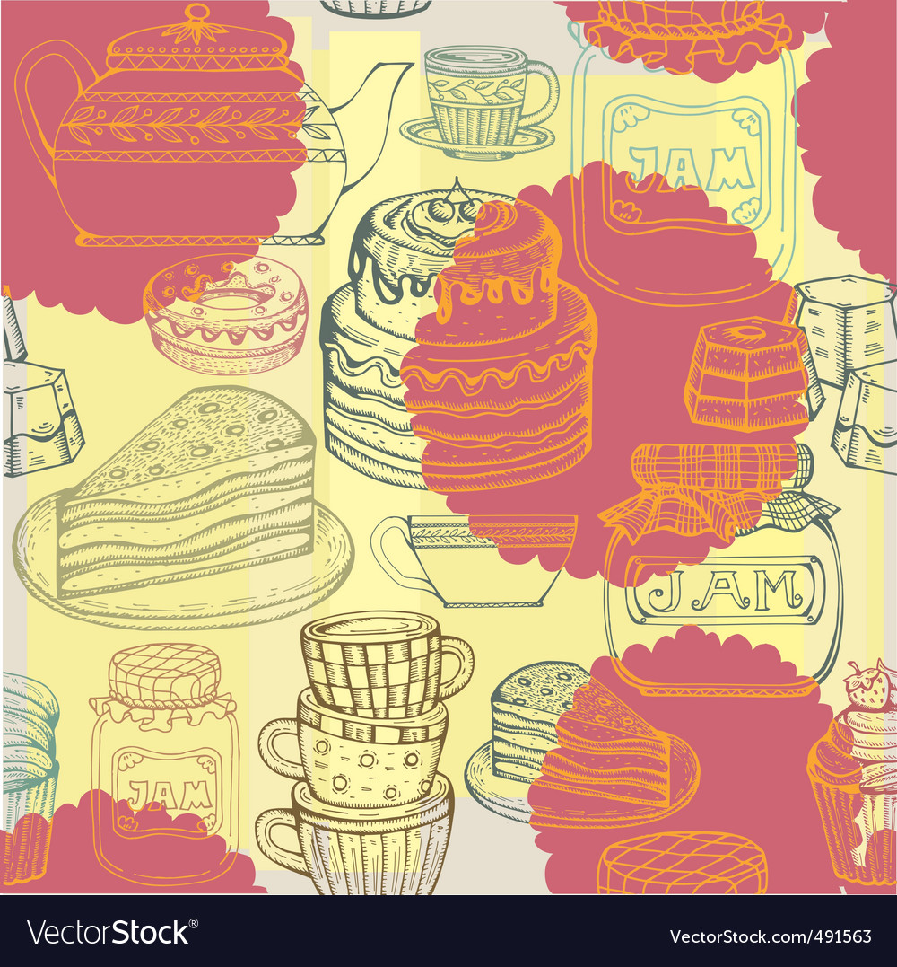 Afternoon tea pattern vector | Price: 1 Credit (USD $1)