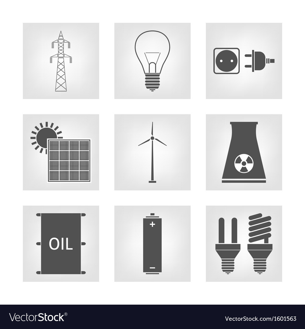 Energy electricity icons vector | Price: 1 Credit (USD $1)