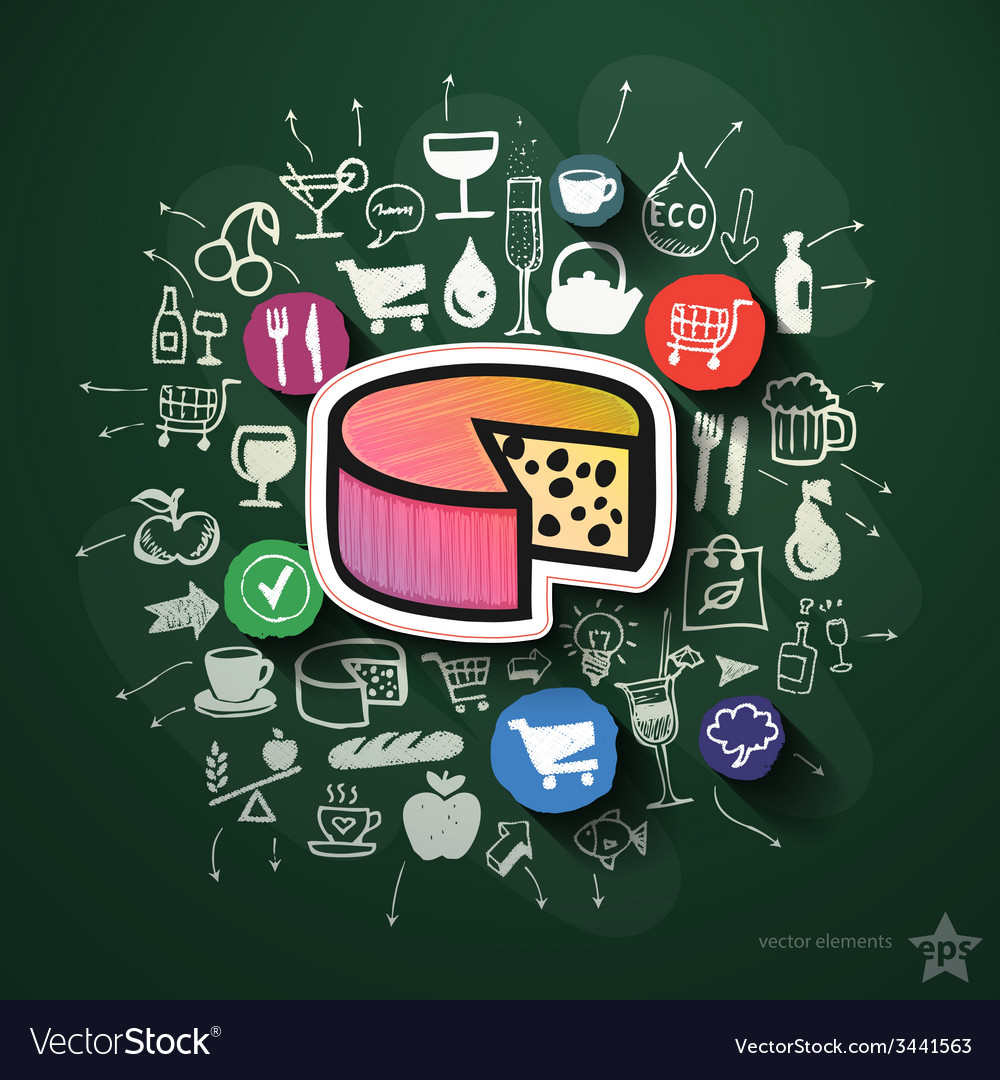 Food collage with icons on blackboard vector   Price: 3 Credit (USD $3)
