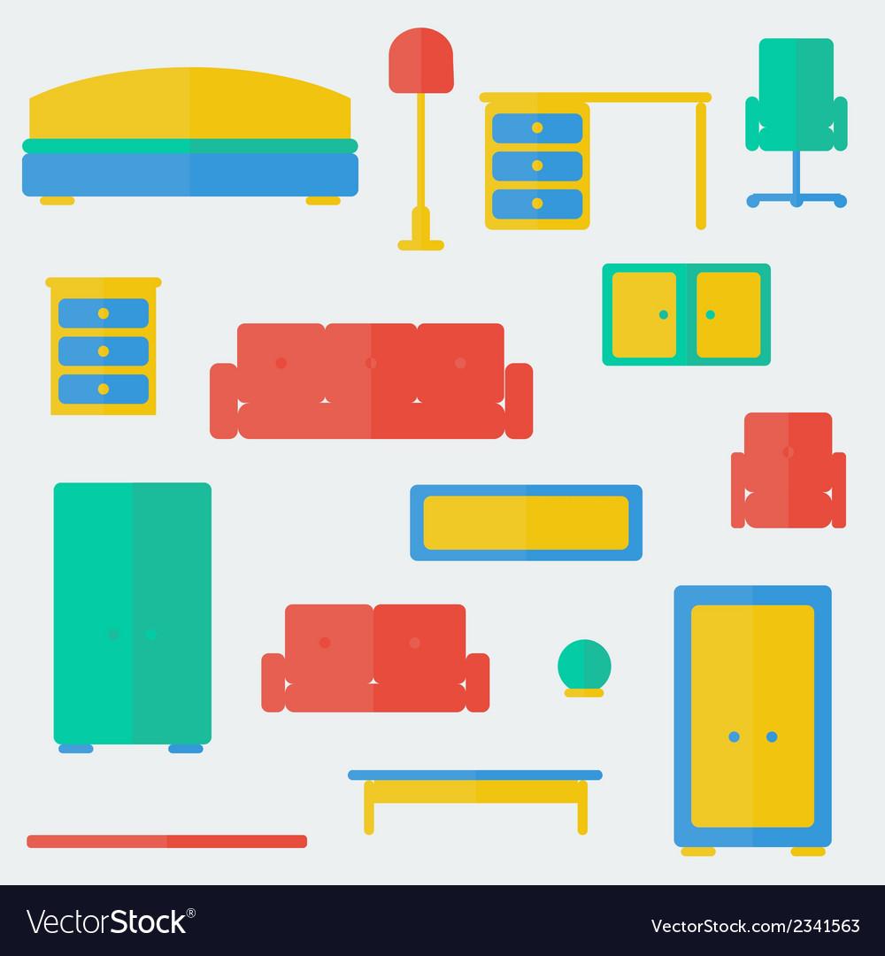 Furniture set vector | Price: 1 Credit (USD $1)