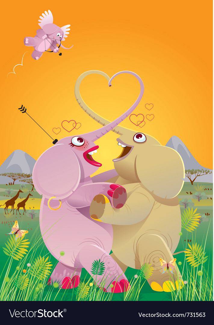 Love dance of elephants vector | Price: 5 Credit (USD $5)