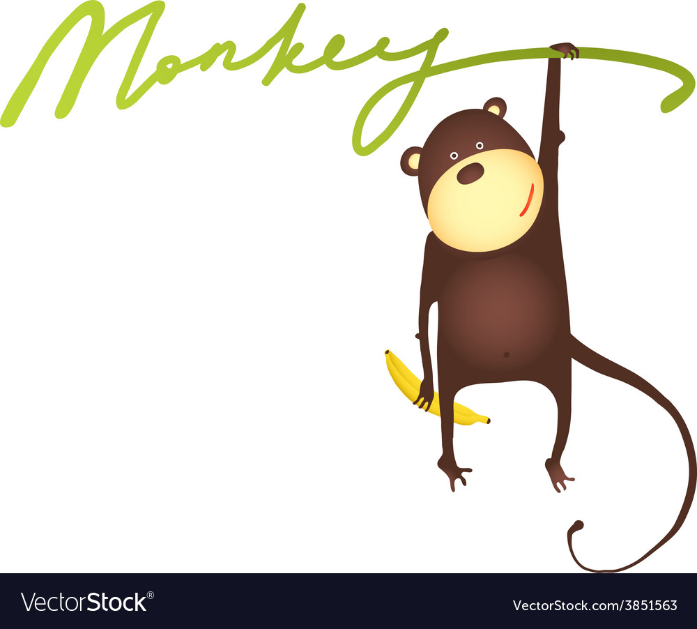 Monkey hanging on vine with banana lettering vector | Price: 1 Credit (USD $1)