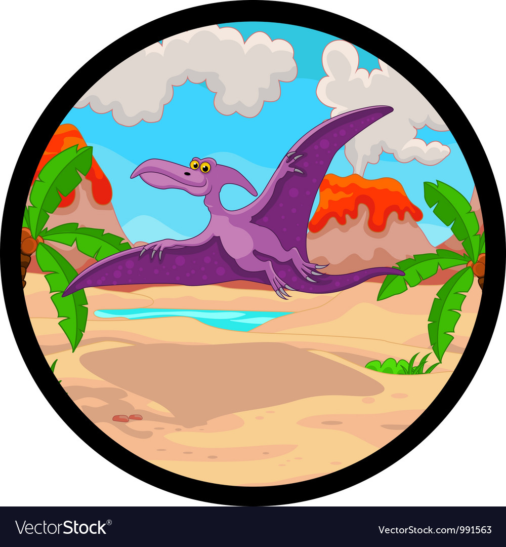 Pterodactyl cartoon flying vector | Price: 3 Credit (USD $3)