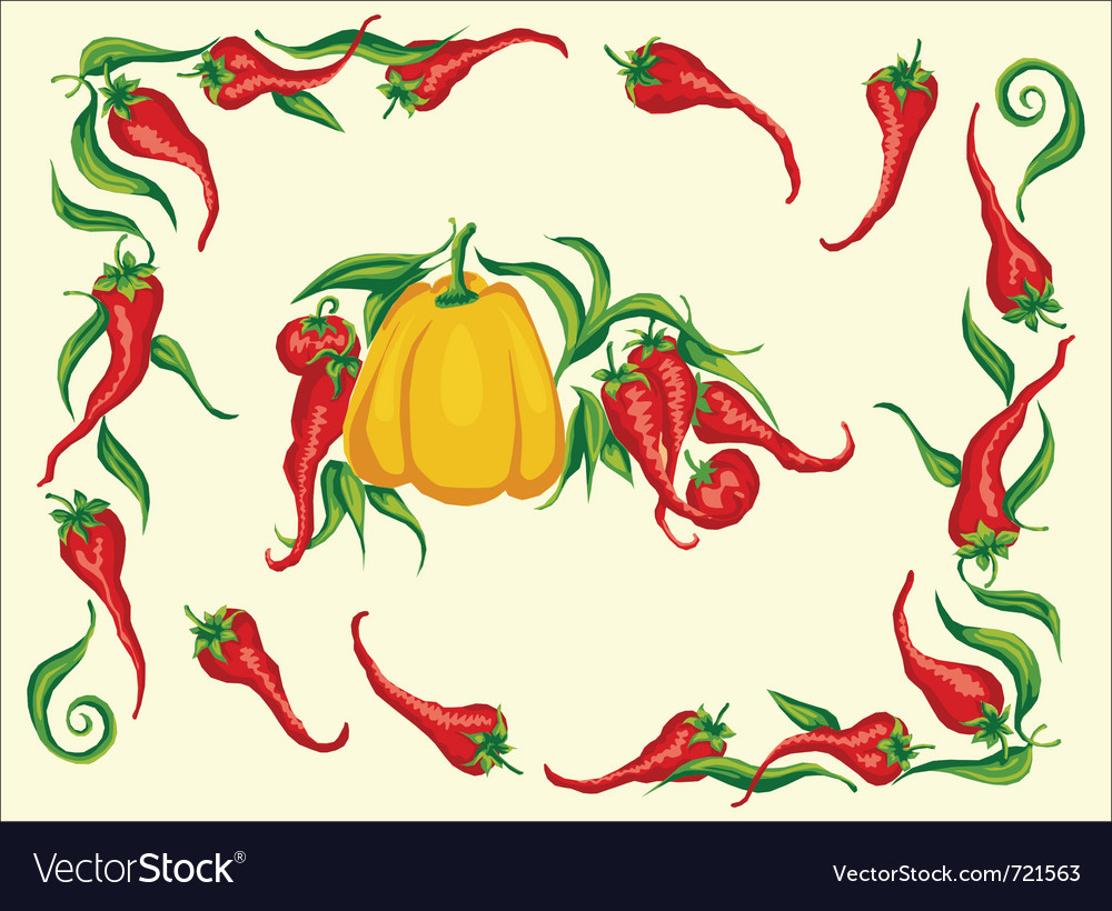 Red hot chili pepper frame vector | Price: 1 Credit (USD $1)