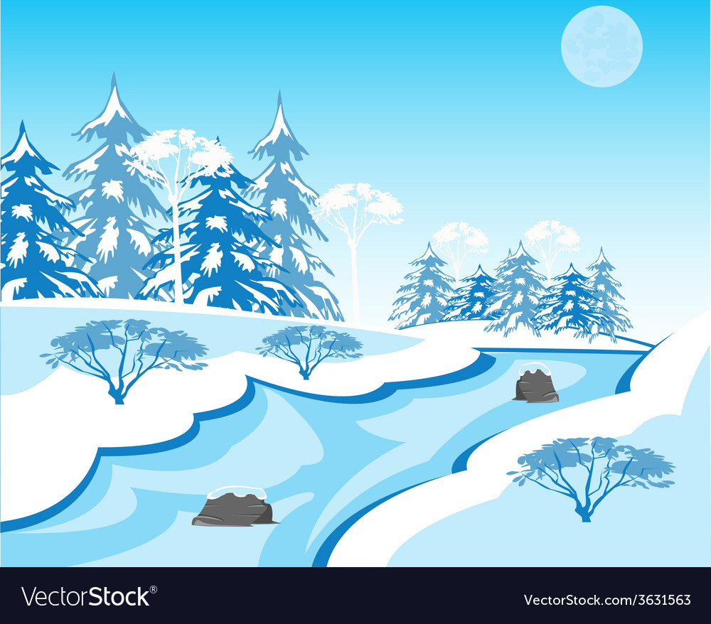 River in winter vector | Price: 1 Credit (USD $1)