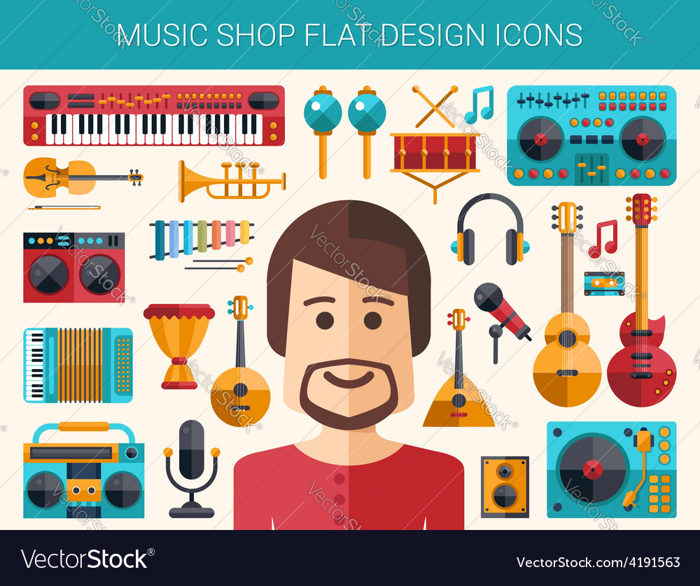 Set of modern flat design musical instruments and vector | Price: 1 Credit (USD $1)