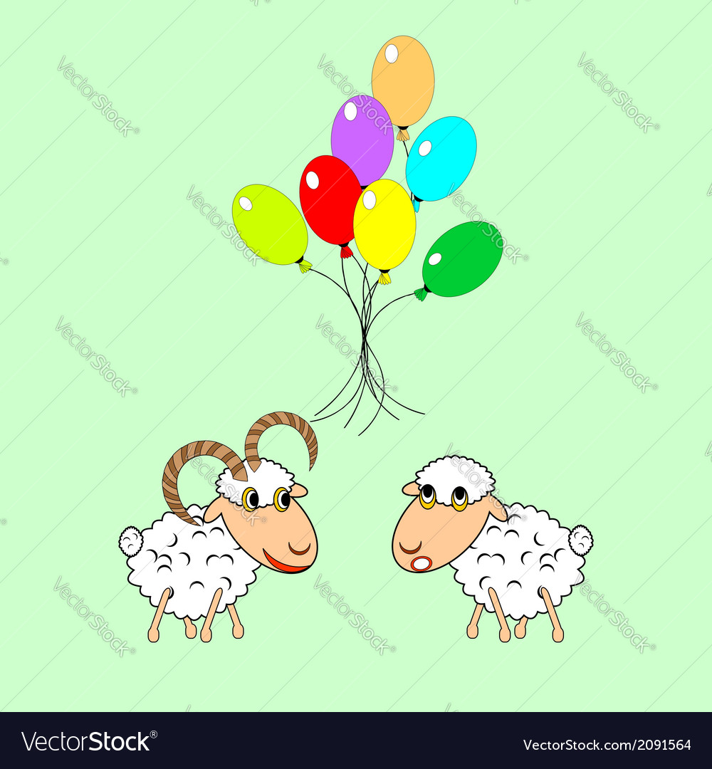 Cartoon sheep and ram with colorful balloons vector   Price: 1 Credit (USD $1)