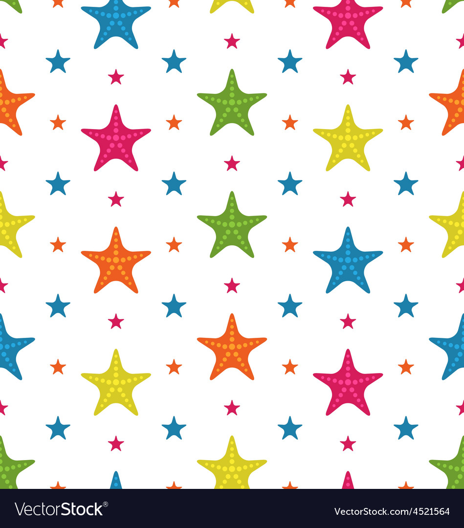 Colorful starfishes summer seamless background vector | Price: 1 Credit (USD $1)