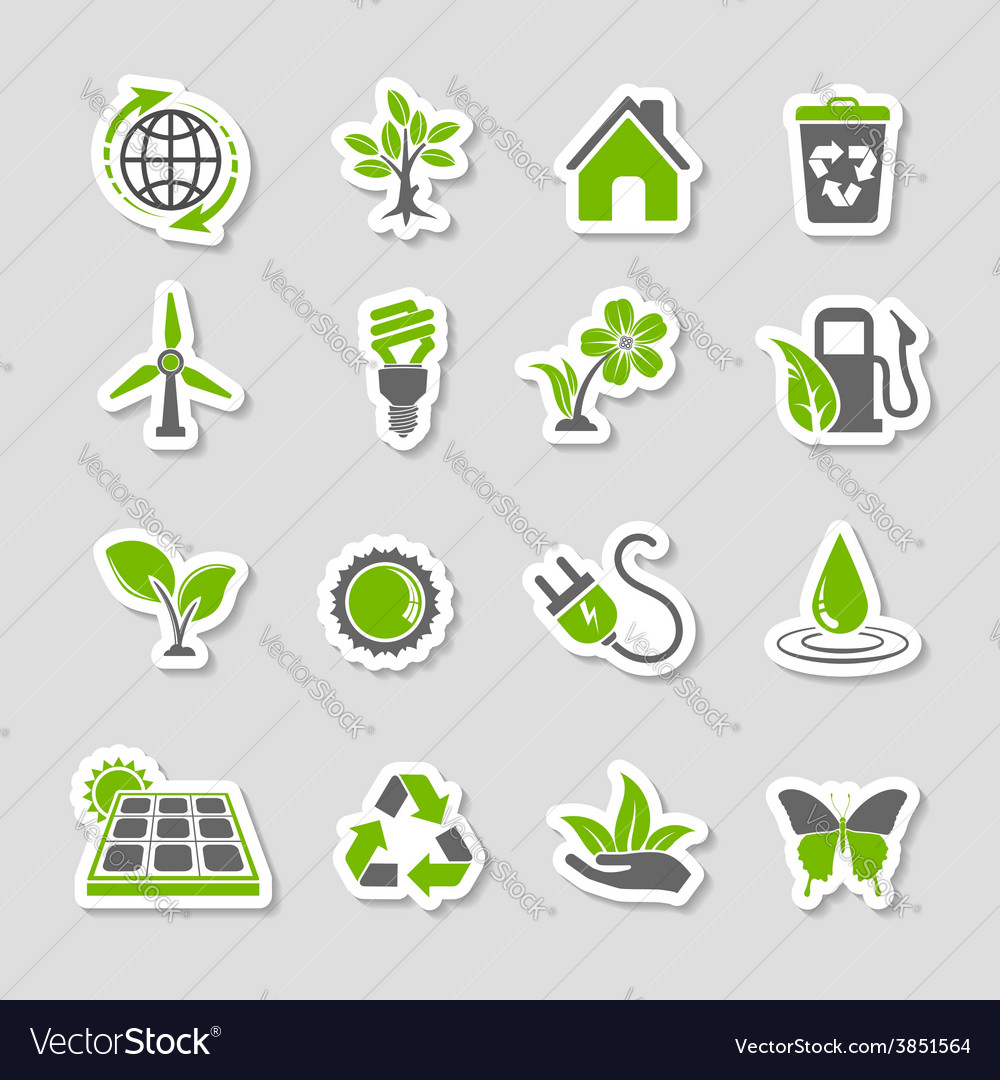 Environment icons sticker set vector