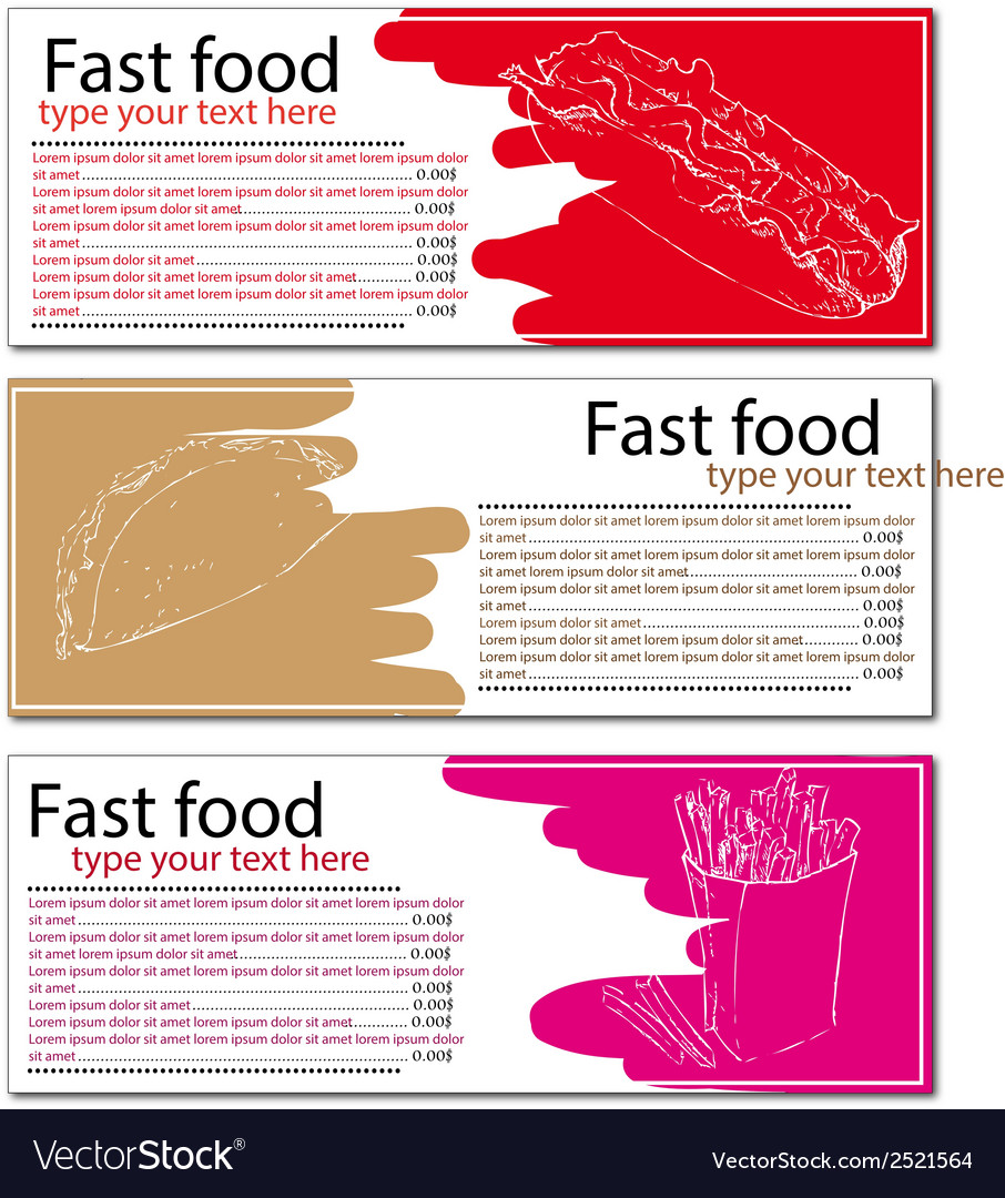 Fast food menu cards with hot dog taco and french vector | Price: 1 Credit (USD $1)