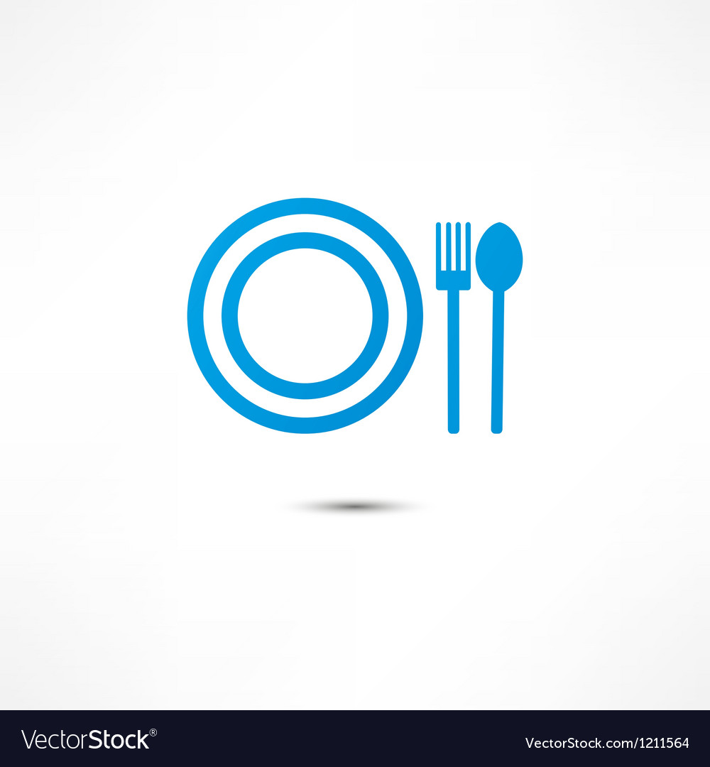 Fork and spoon and plate icon vector | Price: 1 Credit (USD $1)