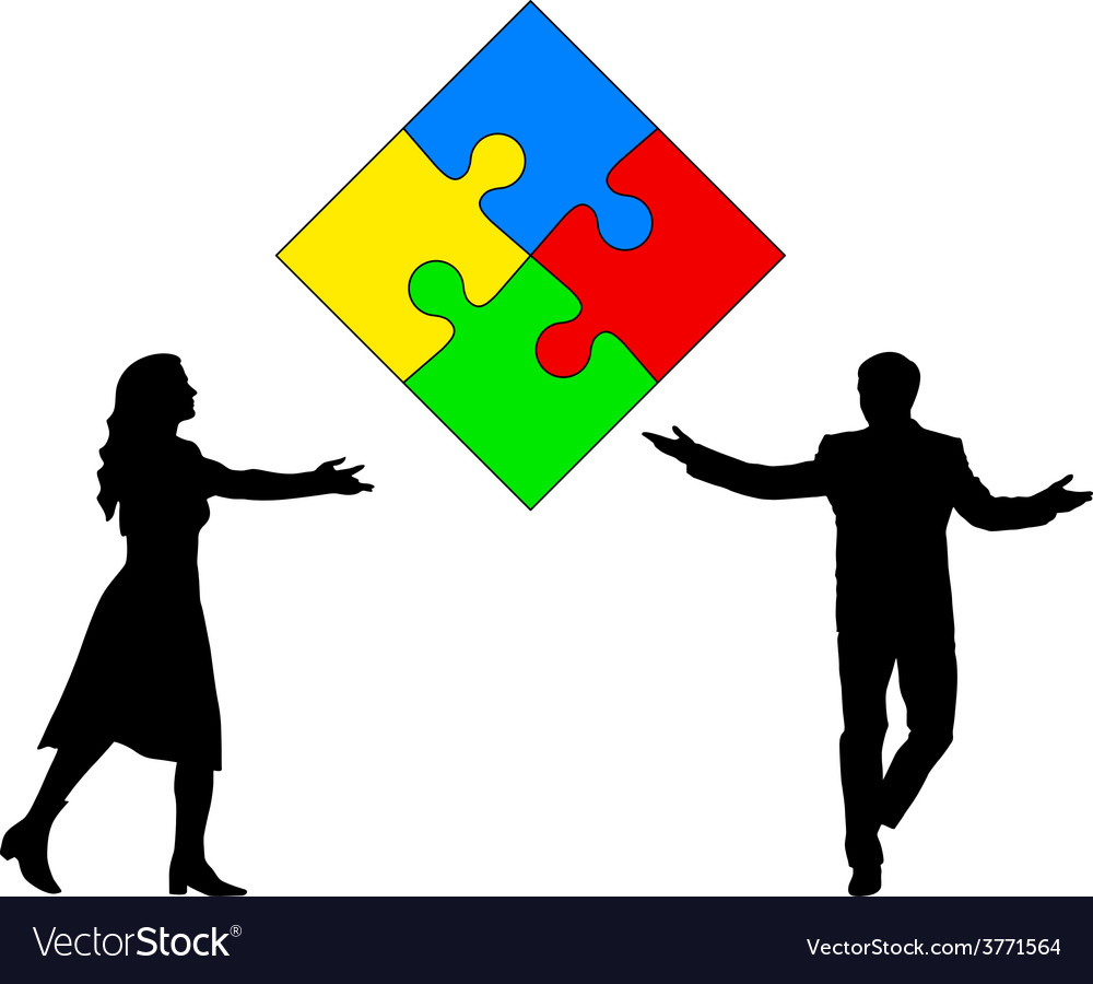 Jigsaw puzzle hold silhouettes of men and women vector   Price: 1 Credit (USD $1)