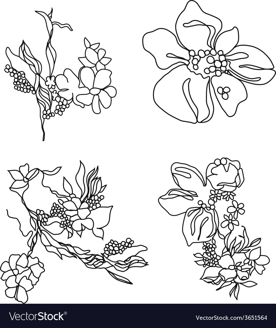 Lace flowers set vector | Price: 1 Credit (USD $1)