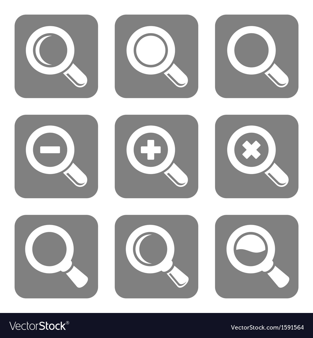 Magnifier glass and zoom icons set vector | Price: 1 Credit (USD $1)