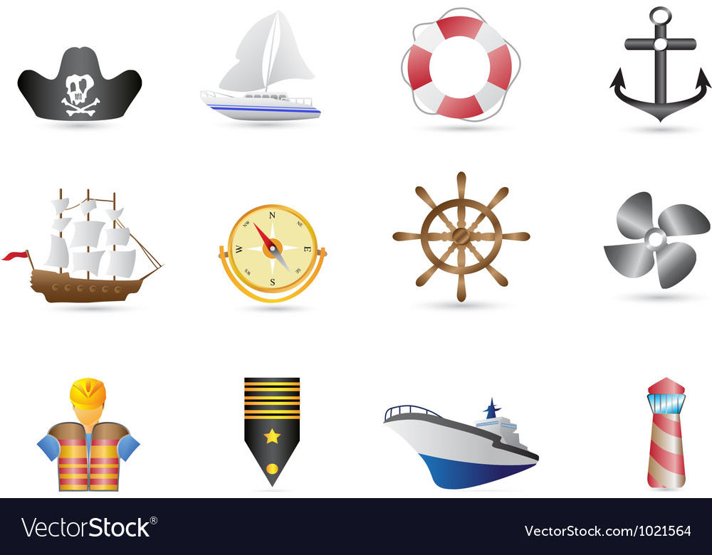 Marine sailing and naval icons vector | Price: 1 Credit (USD $1)