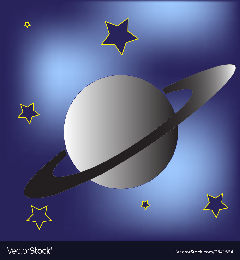 Saturn planet and stars vector | Price: 1 Credit (USD $1)