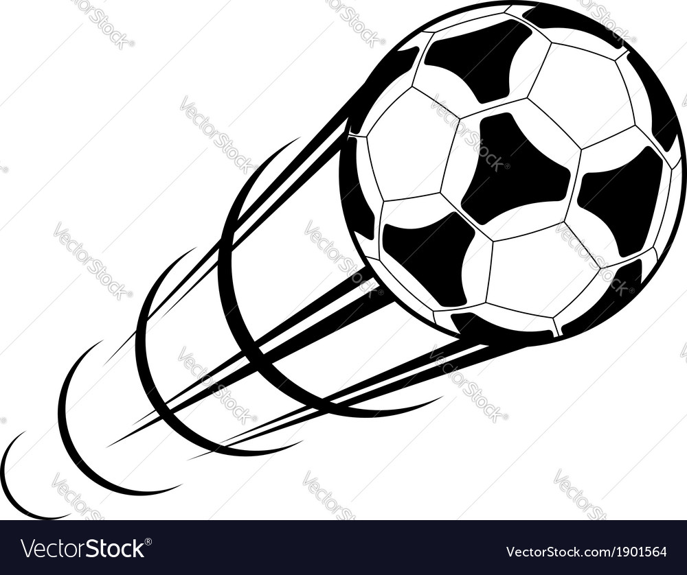 Speeding soccer ball with a motion trail vector | Price: 1 Credit (USD $1)