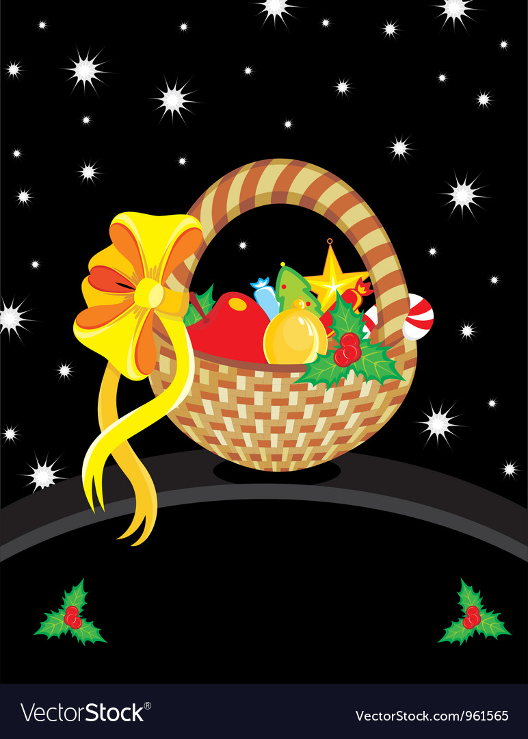 Basket christmas toy card vector | Price: 1 Credit (USD $1)