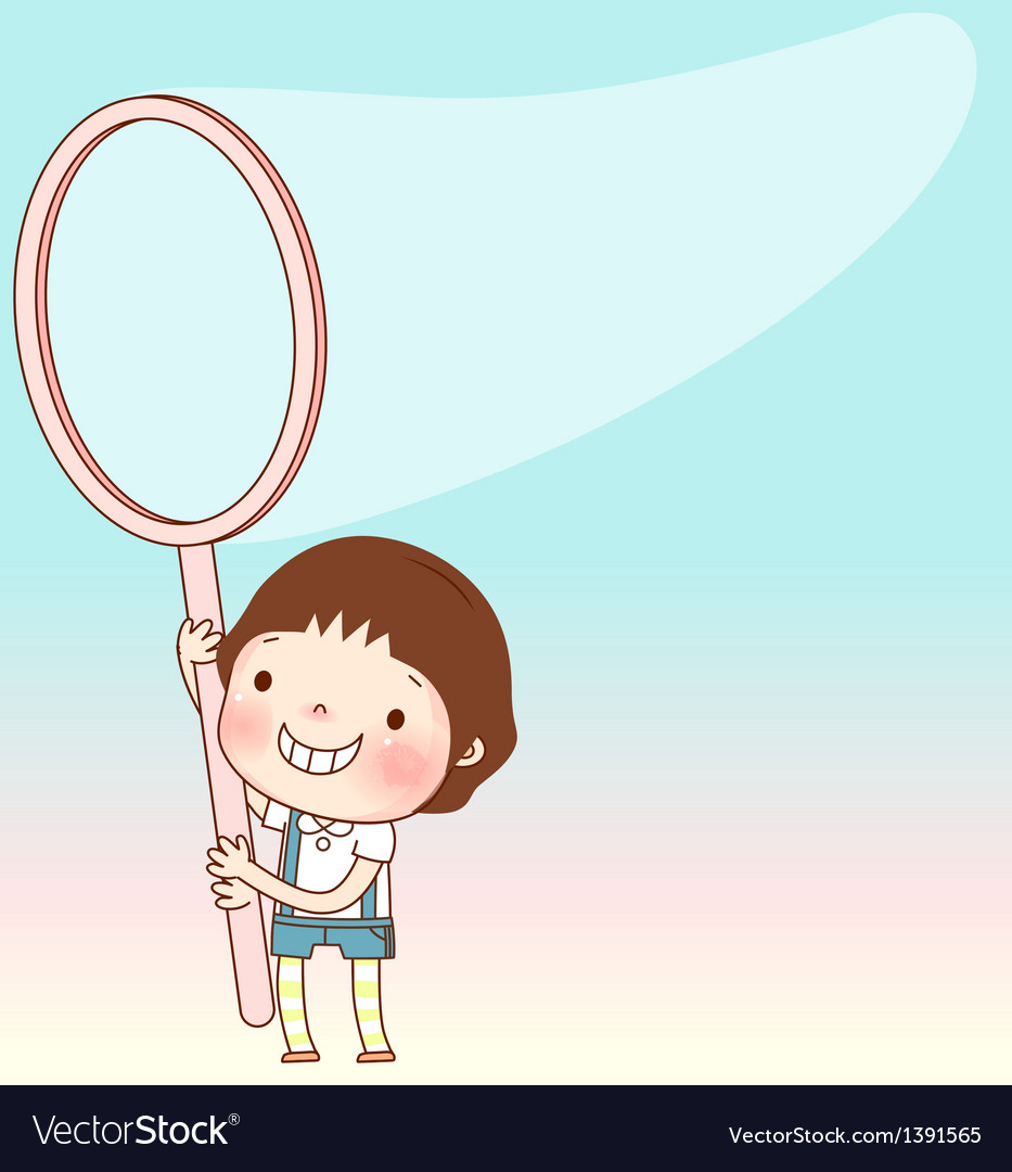 Child holding fishing net vector | Price: 3 Credit (USD $3)