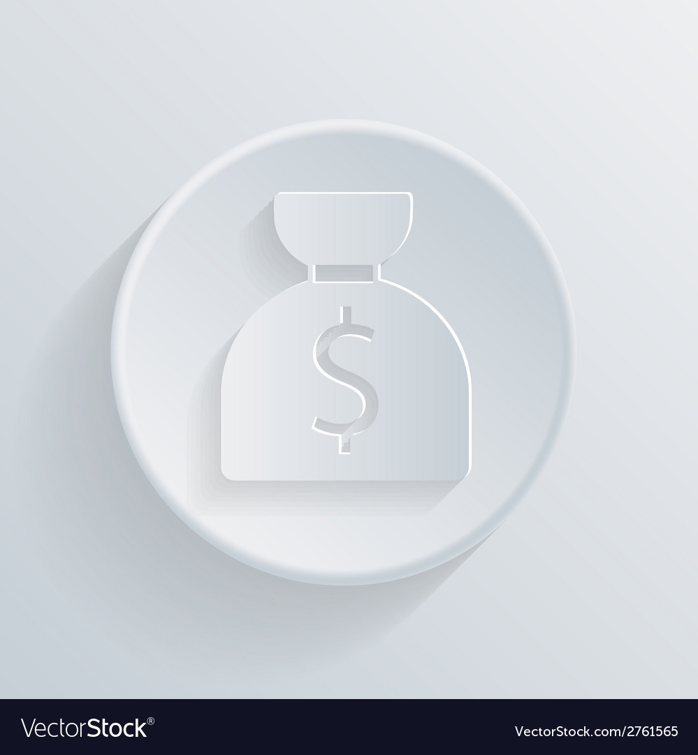 Circle icon with a shadow bag of money vector | Price: 1 Credit (USD $1)