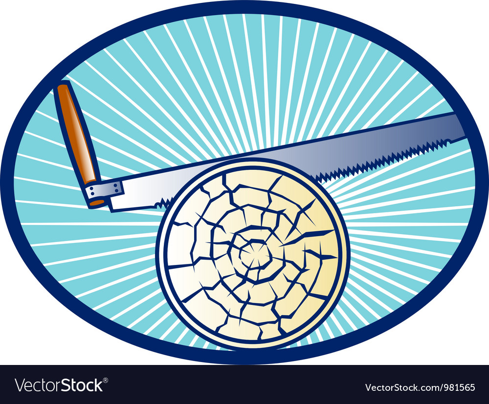 Cross-cut saw cutting log wood retro vector | Price: 1 Credit (USD $1)