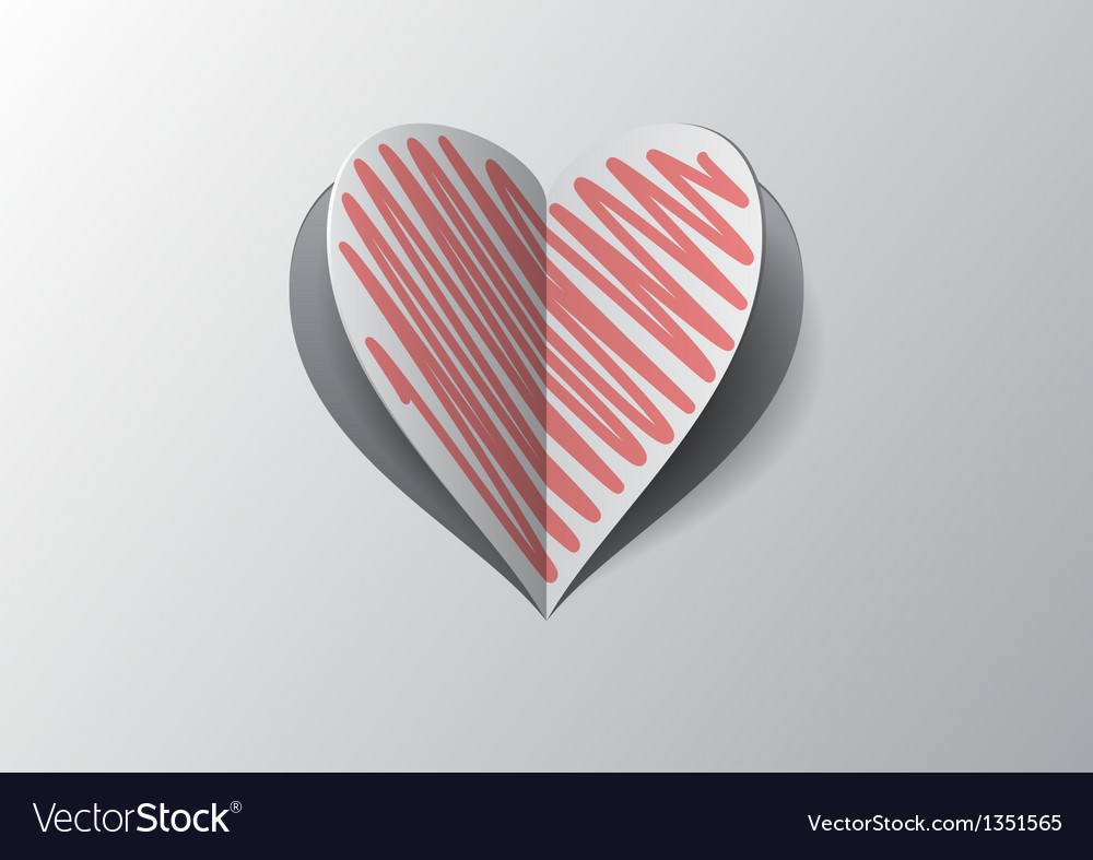 Cutout and folded paper heart with red hatch vector | Price: 1 Credit (USD $1)