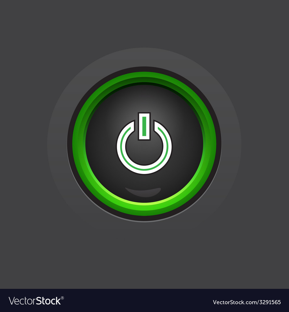 Glossy dark circle power button vector | Price: 1 Credit (USD $1)
