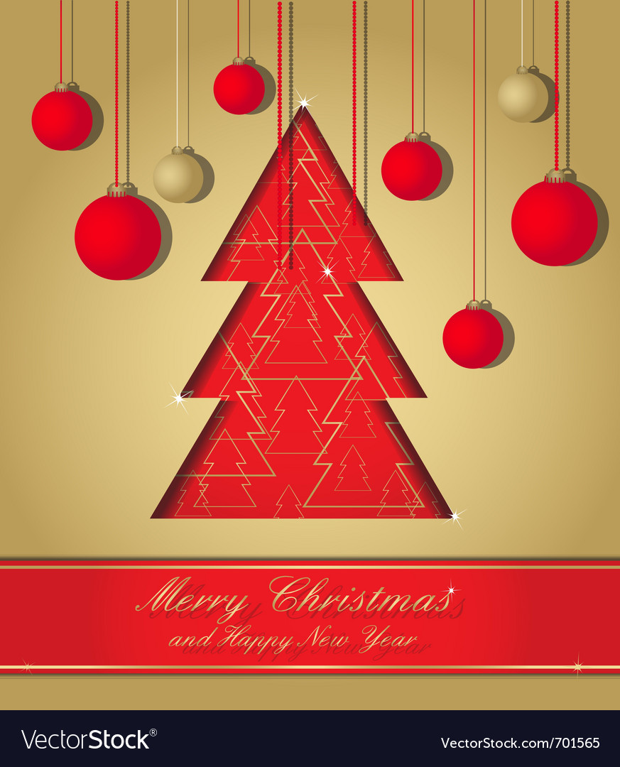 Gold and red christmas postcard vector | Price: 1 Credit (USD $1)