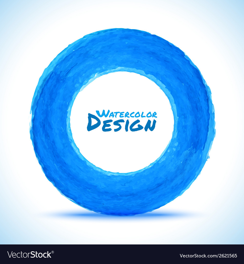 Hand drawn watercolor blue circle design element vector | Price: 1 Credit (USD $1)