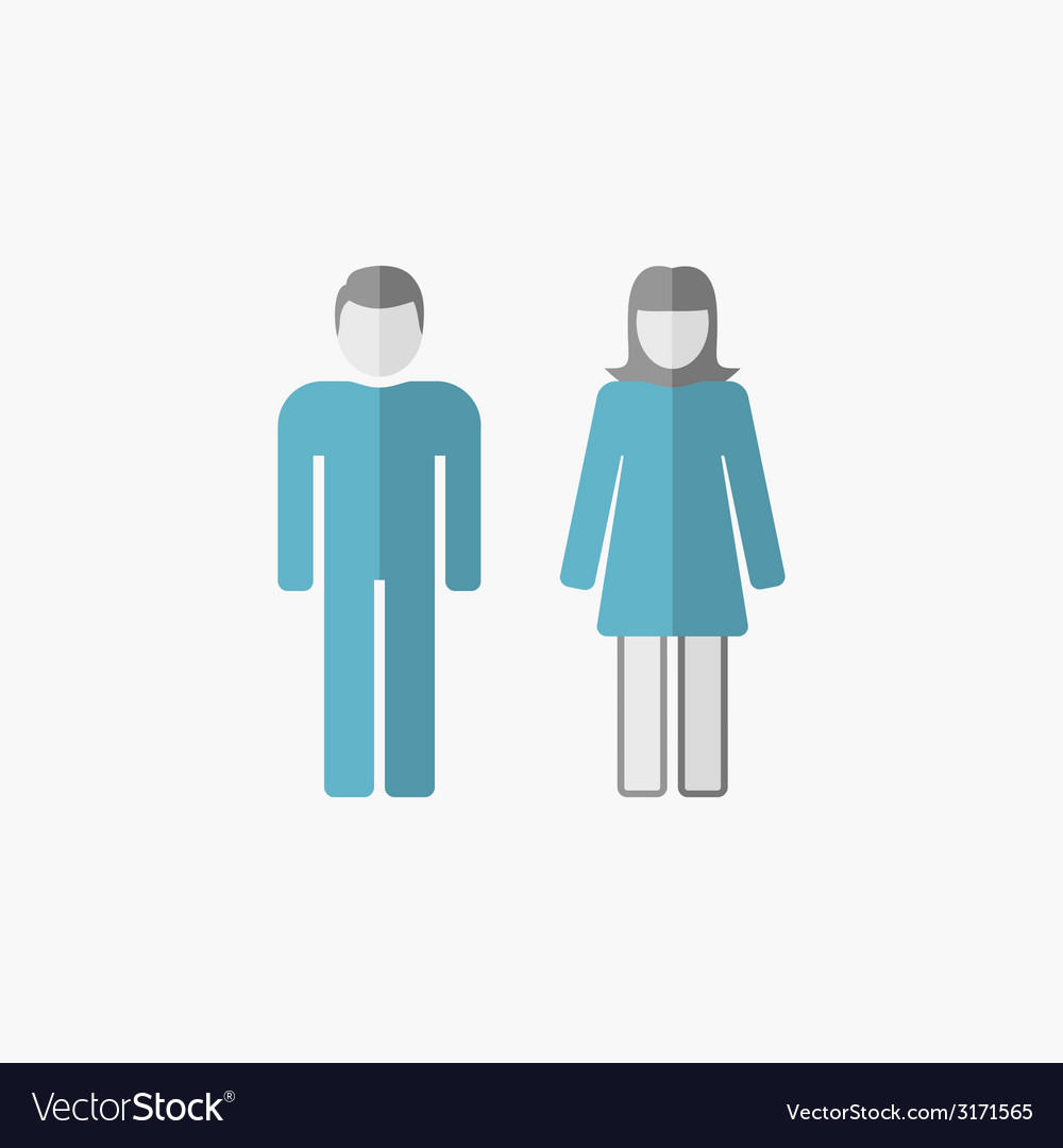 Man and woman flat icon vector | Price: 1 Credit (USD $1)