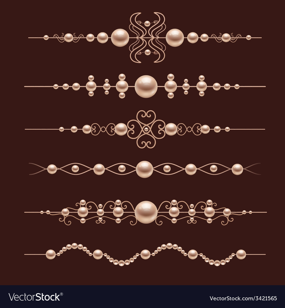 Pearl realistic dividers vector | Price: 1 Credit (USD $1)
