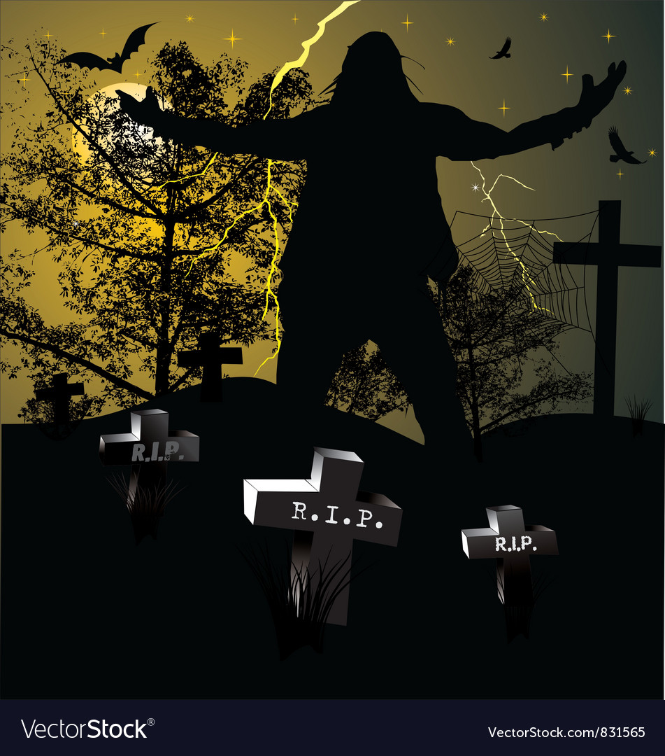 Spooky graveyard halloween background vector | Price: 1 Credit (USD $1)