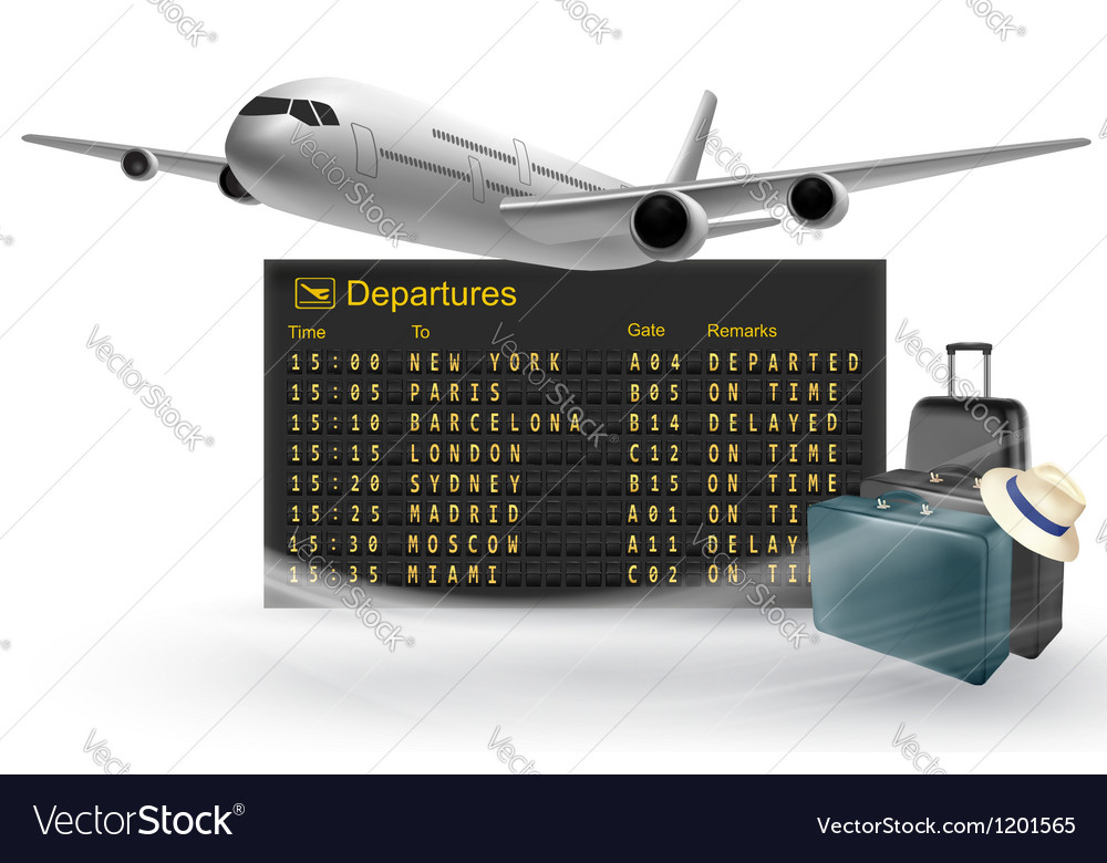 Travel background with mechanical departures board vector | Price: 3 Credit (USD $3)