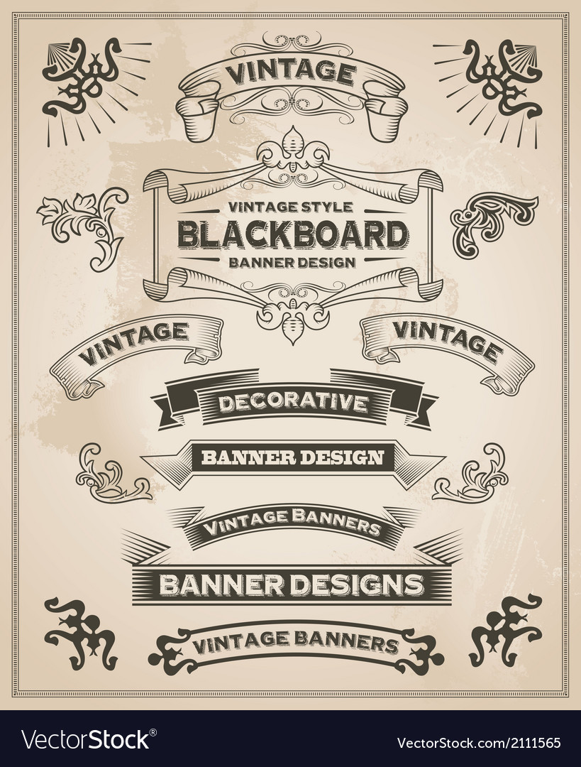 Vintage banner and ribbon set vector | Price: 3 Credit (USD $3)