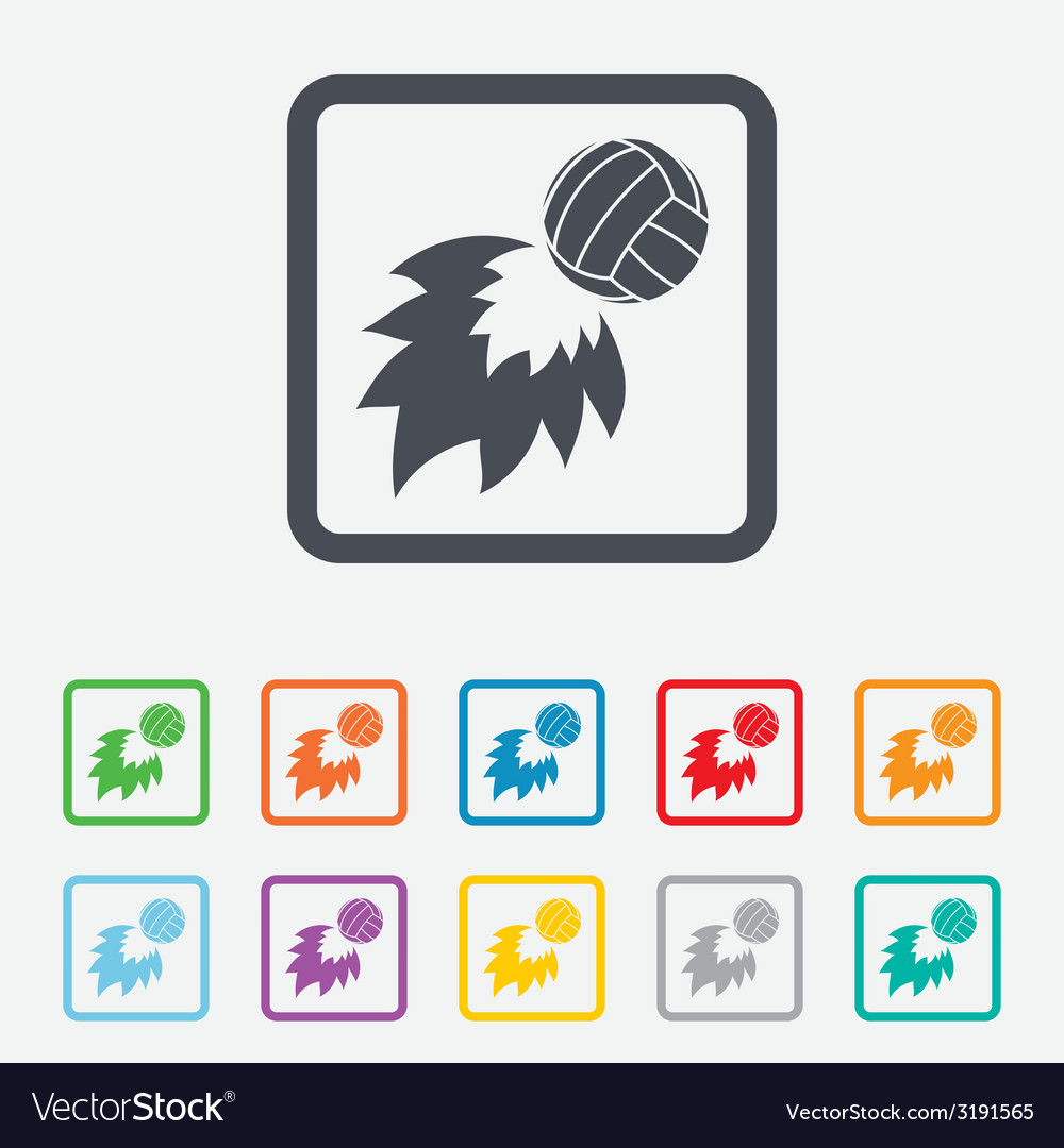 Volleyball fireball icon beach sport symbol vector | Price: 1 Credit (USD $1)