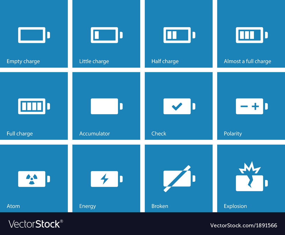 Battery icons on blue background vector | Price: 1 Credit (USD $1)