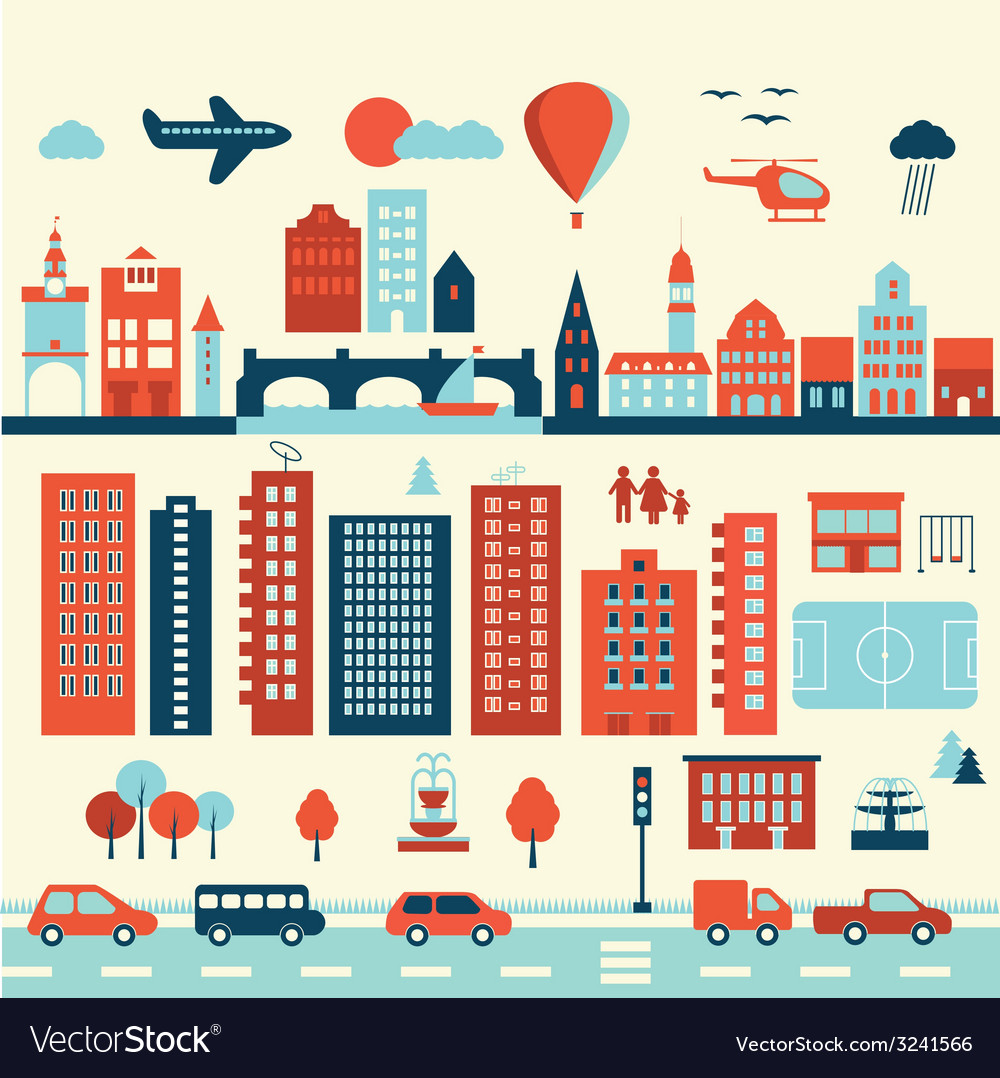 City modern old elements vector | Price: 1 Credit (USD $1)