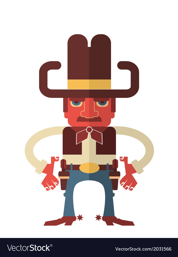 Cowboy with guns isolated on white vector | Price: 1 Credit (USD $1)