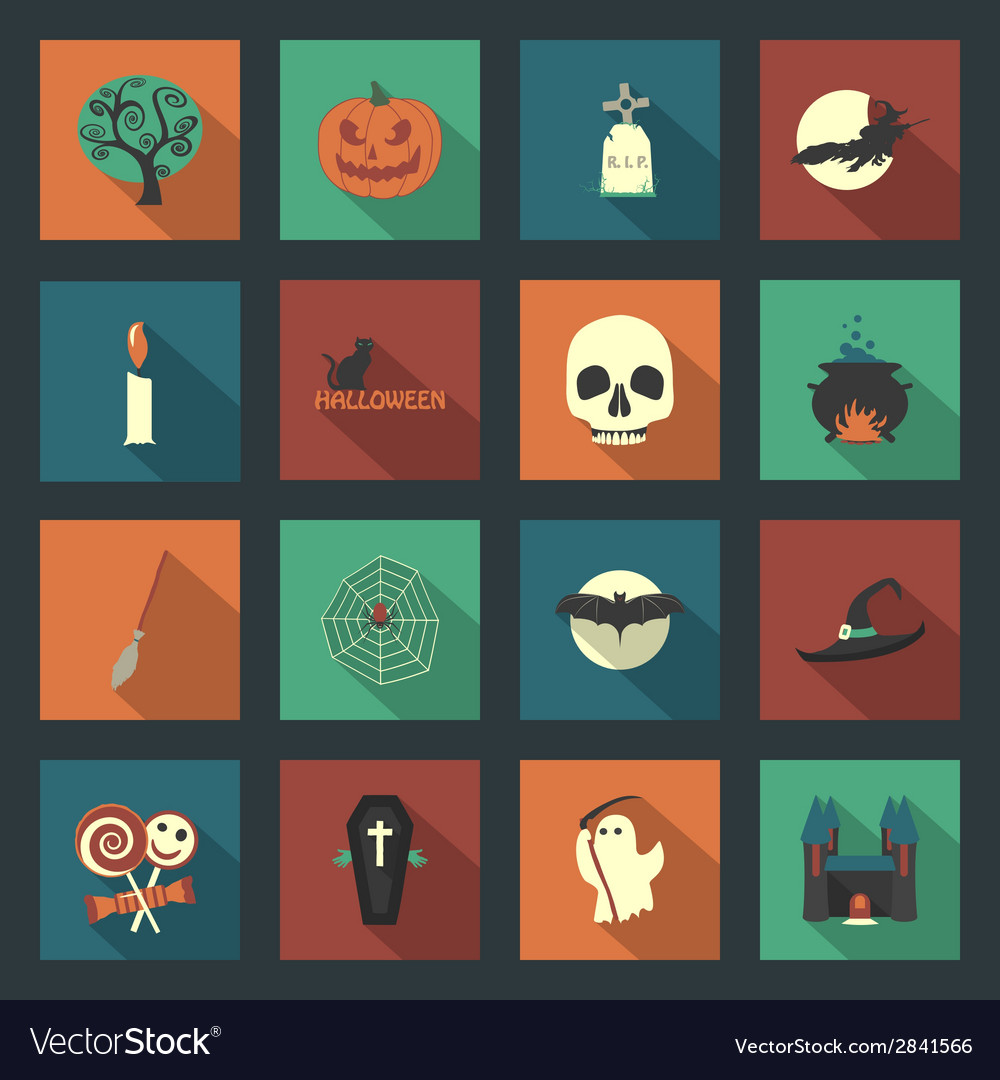 Halloween flat icons set vector | Price: 1 Credit (USD $1)