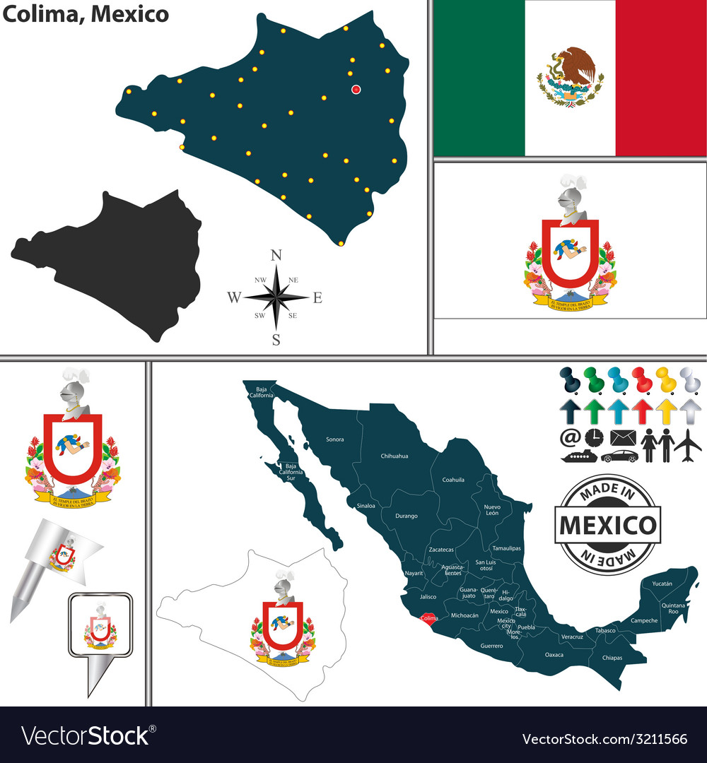 Map of colima vector | Price: 1 Credit (USD $1)
