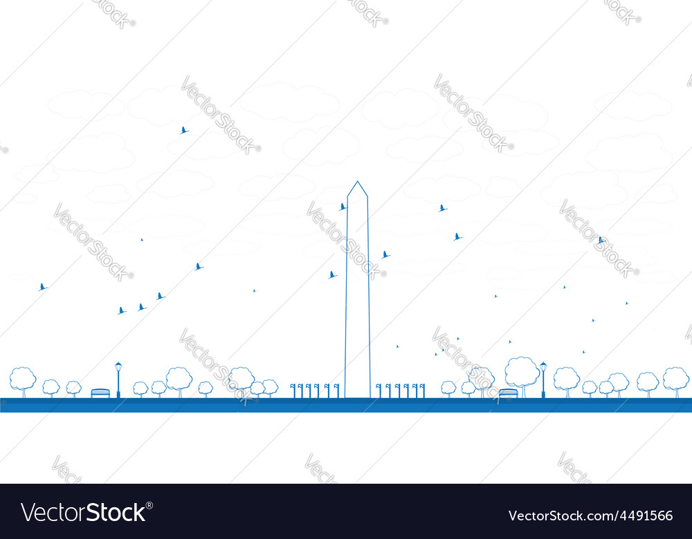 Outline washington monument in blue color vector | Price: 1 Credit (USD $1)
